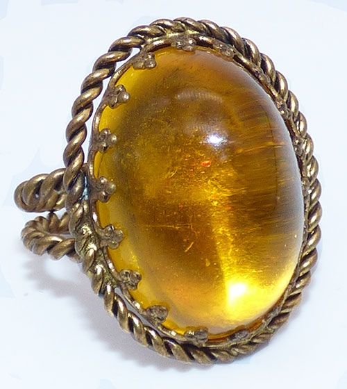 Newly Added West Germany Golden Topaz Domed Ring