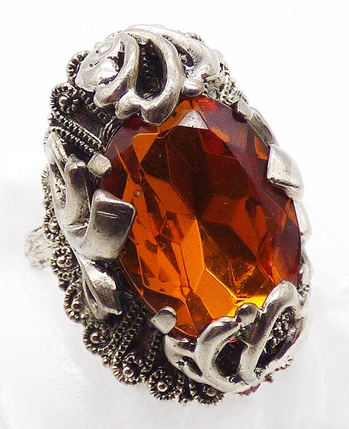 Rings - West German Amber Glass Ring