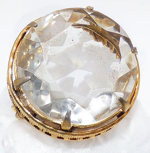 Newly Added Czech Clear Cut Glsss Gold Ring