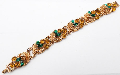 Newly Added Green and Topaz Rhinestone Leaves Bracelet