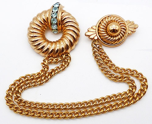 Newly Added Coro Wreath Chatelaine Double Brooch