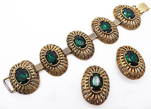 Newly Added Green Rhinestone Gold Oval Link bracelet Set