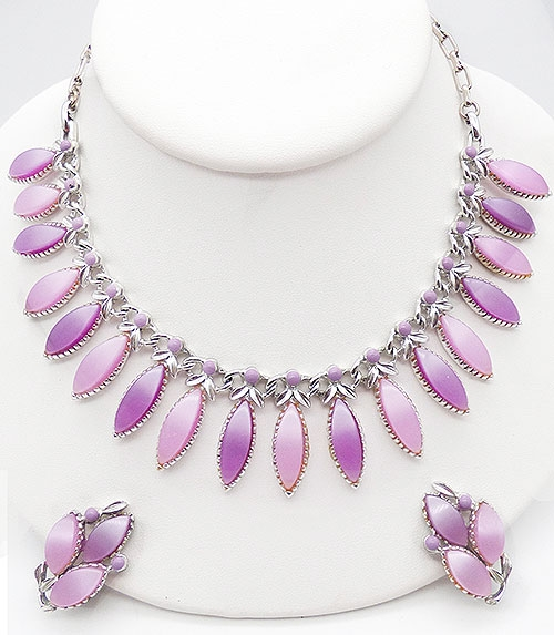 Misc. Signed M-R - Pakula Pink and Lavender Necklace Set