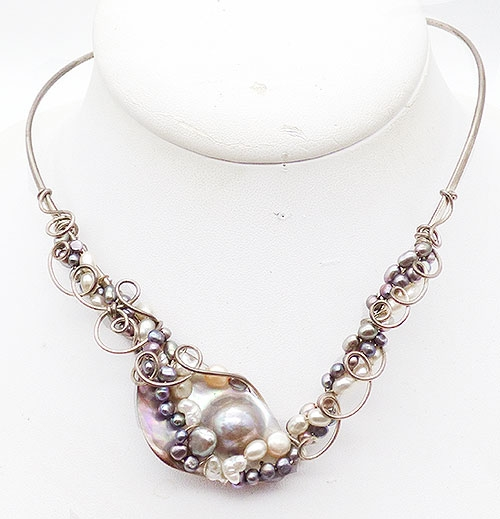 Mexico - Mexican Sterling Pearls Rigid Collar Necklace