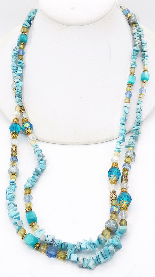 Newly Added Blue Kowlite Chips and Crystal Necklace