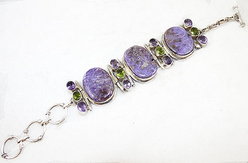 Collectible Contemporary - Sterling Charoite Amethyst and Peridot Bracelet