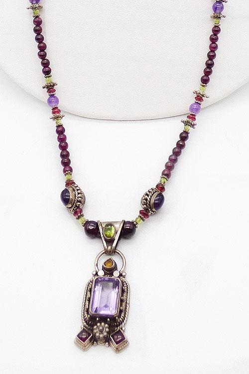 Newly Added Amethyst Sterling Pendant Garnet Bead Necklace