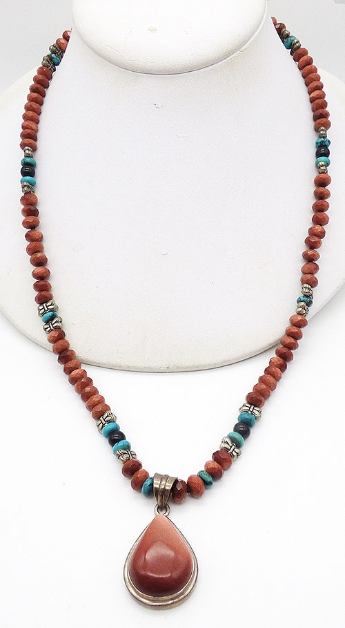 Collectible Contemporary - Goldstone Sterling Pendant and Beads Necklace