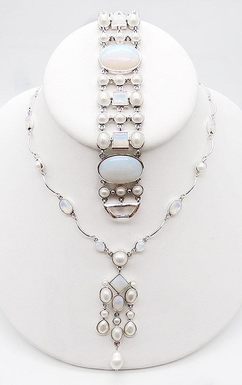 Sets & Parures - Monet Opalescent Glsss Necklace Bracelet Demi