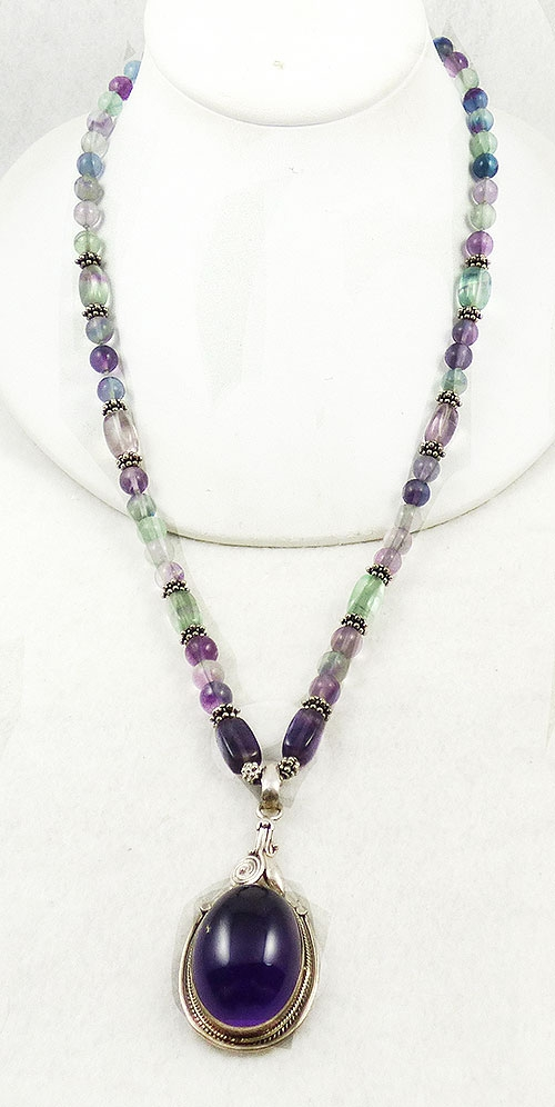 Semi-Precious Gems - Sterling Amethyst Cabochon Fluorite Beads Necklace