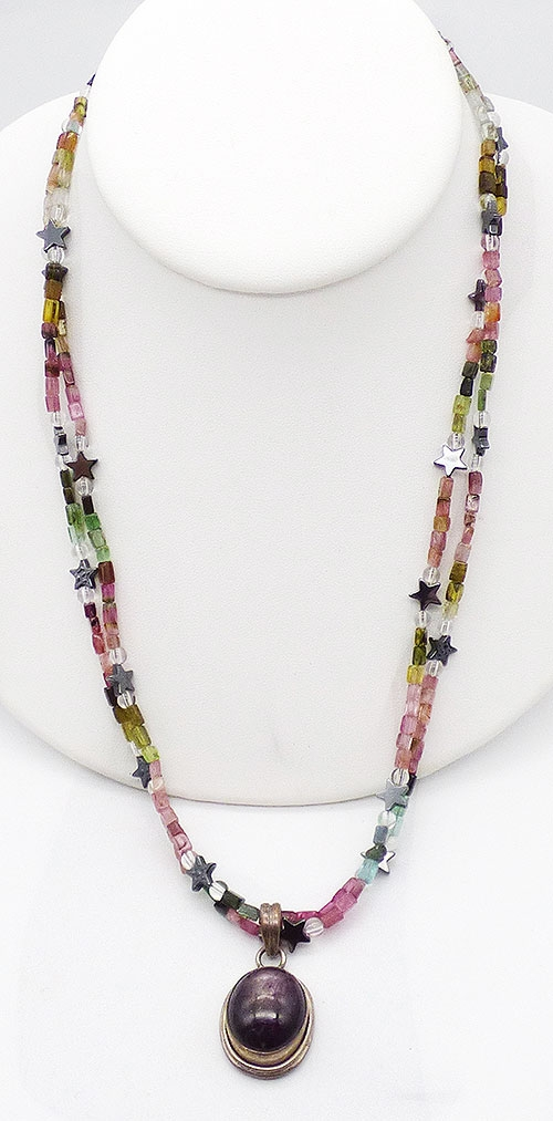 Semi-Precious Gems - Purple Sapphire Cabochon Tourmaline Beads Necklace