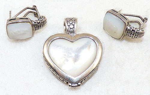 Semi-Precious Gems - Sterling Mother-of-Pearl Reversible Heart Pendant Set
