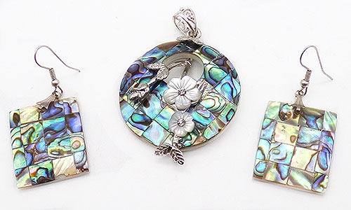 Newly Added Abalone Pendant and Earrings Set