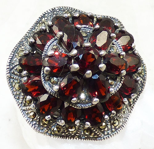 Collectible Contemporary - Sterling Garnet Marcasite Statement Ring