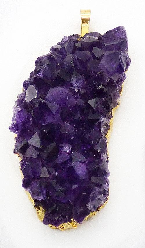 Semi-Precious Gems - Genuine Amethyst Geode Pendant