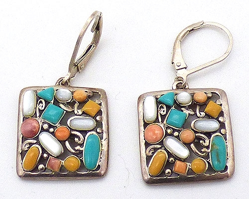 Collectible Contemporary - Sterling Gemstones Square Drop Earrings