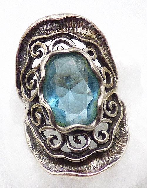 Rings - Israeli Shablool Sterling Aqua Crystal Ring