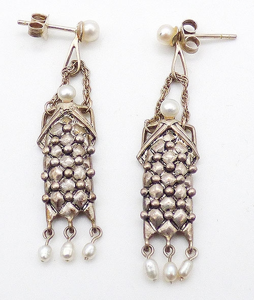 Sterling Silver - Artisan Sterling and Freshwater Pearl Earrings