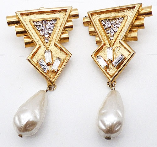 Newly Added Ugo Correani Geometric Pearl Drop Earrings