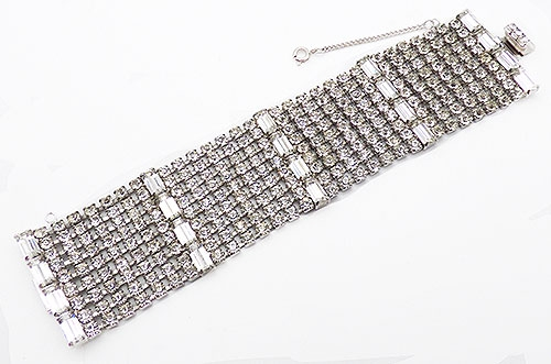 Newly Added Wide Clear Rhinestone Bracelet