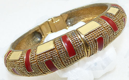 Bracelets - Red and Cream Enamel Gold Hinged Bangle