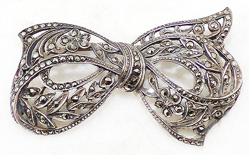 Bows & Ribbons - Art Deco Sterling Marcasite Bow Brooch