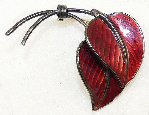 Leaves & Plants - Hans Myhre Red Enamel Sterling Leaves Brooch