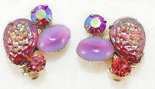 Beau Jewels - Beau Jewels Red Lava Rhinestone Earrings