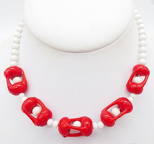 Necklaces - Red and White Glass Bead Necklace