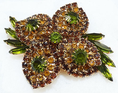 Autumn Fall Colors Jewelry - Topaz Amber Peridot Rhinestone Brooch