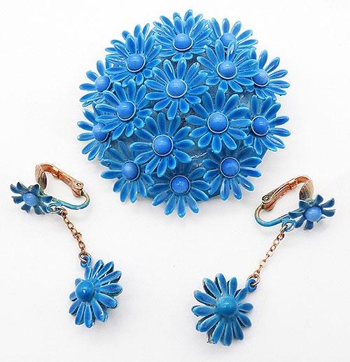 Newly Added Blue Enamel Daisies Brooch Set
