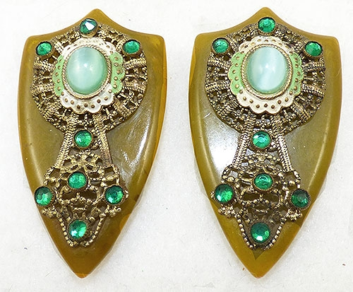 Bakelite, Celluloid, Galalith - Pea Soup Bakelite Brass Filigree Dress Clips