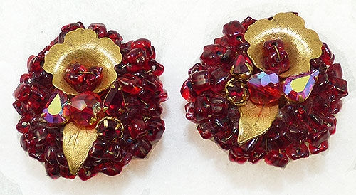 Newly Added Eugene Red Bead and Rhinestone Earrings