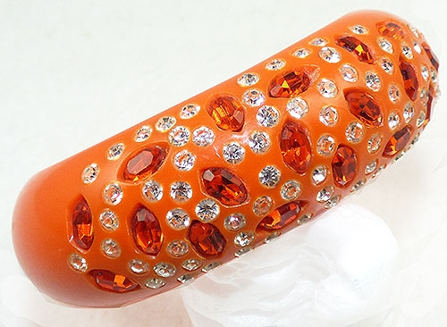 Bracelets - Weiss Orange Rhinestone Clamper Bracelet