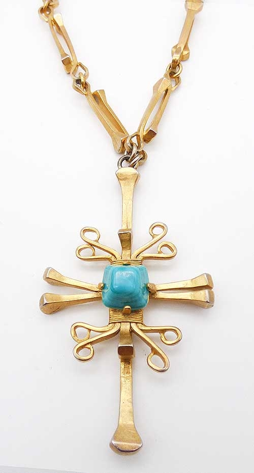 Newly Added Castlecliff Gold Aztec Cross Nnecklace