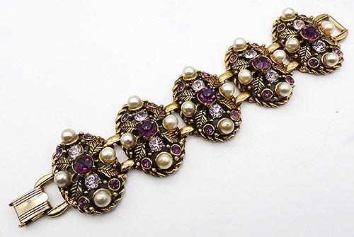 Bracelets - Selro Amethyst Rhinestone Pearl Bracelet