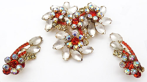 DeLizza & Elster/Juliana - DeLizza and Elster Frosted Glass Brooch Set