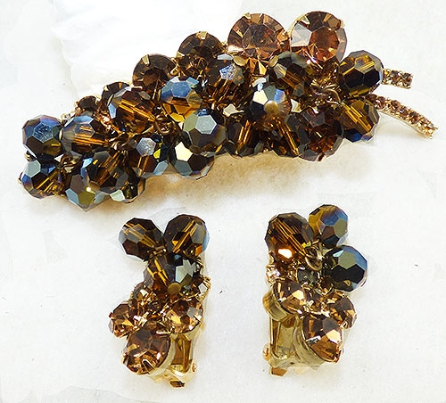DeLizza & Elster/Juliana - DeLizza & Elster Dark Topaz Leaf Brooch Set