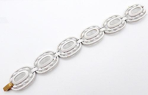 Trifari - Trifari White Enamel Link Bracelet