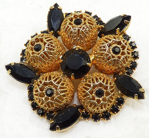 Brooches - Juliana Black Rhinestone Gold Filigree Brooch