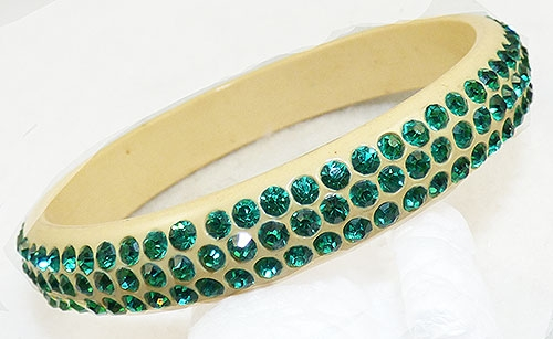 Bakelite, Celluloid, Galalith - Green Rhinestone Celluloid Sparkle Bracelet
