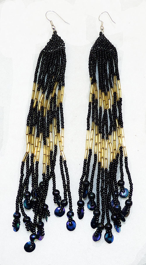 Newly Added Black and Gold Bead Shoulder Duster Earrings
