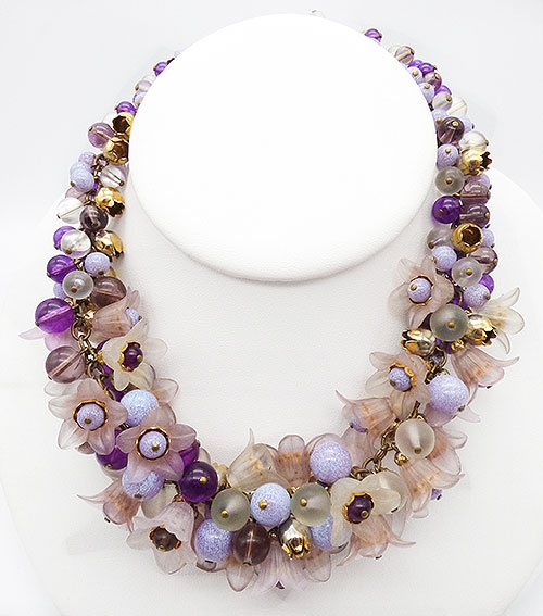 Newly Added Plastic Flowers and Glass Beads Necklace