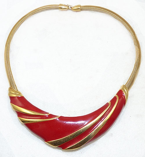 Napier - Napier Red Enamel Gold Tone Necklace
