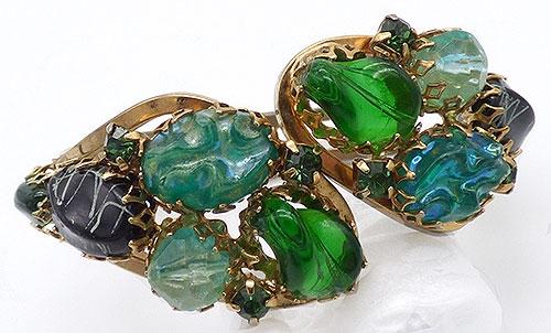 Bracelets - Green and Black Nugget Clamper Bracelet