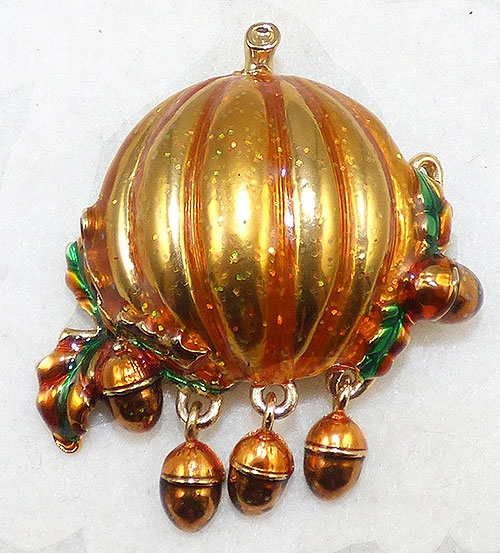 Newly Added Monet Autumn Pumpkin Brooch