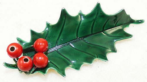 Brooches - Sandor Enameled Holly Brooch