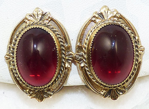 Whiting & Davis - Whiting & Davis Red Cabochon Earrings