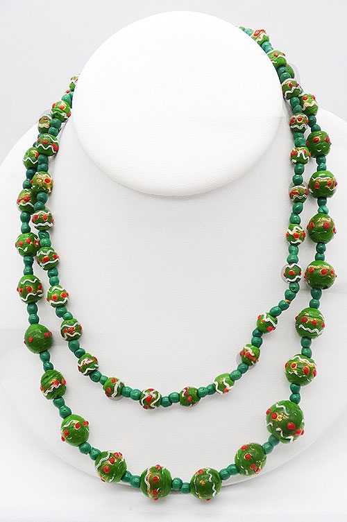 Newly Added Venetian Green Glass Beads Necklace