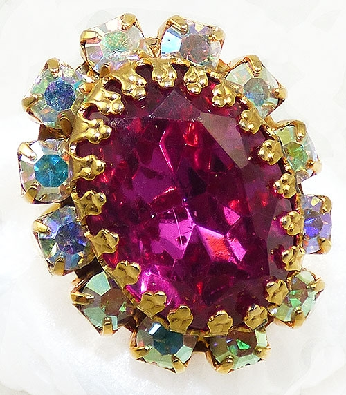 Newly Added Hot Pink and Aurora Rhinestone Ring